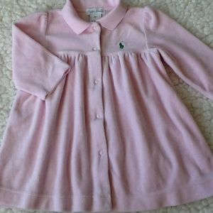 Ralph Lauren Baby Girl's Size 9M Pink Velour Dress